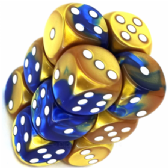 Blue & Gold Gemini 16mm D6 Dice Block